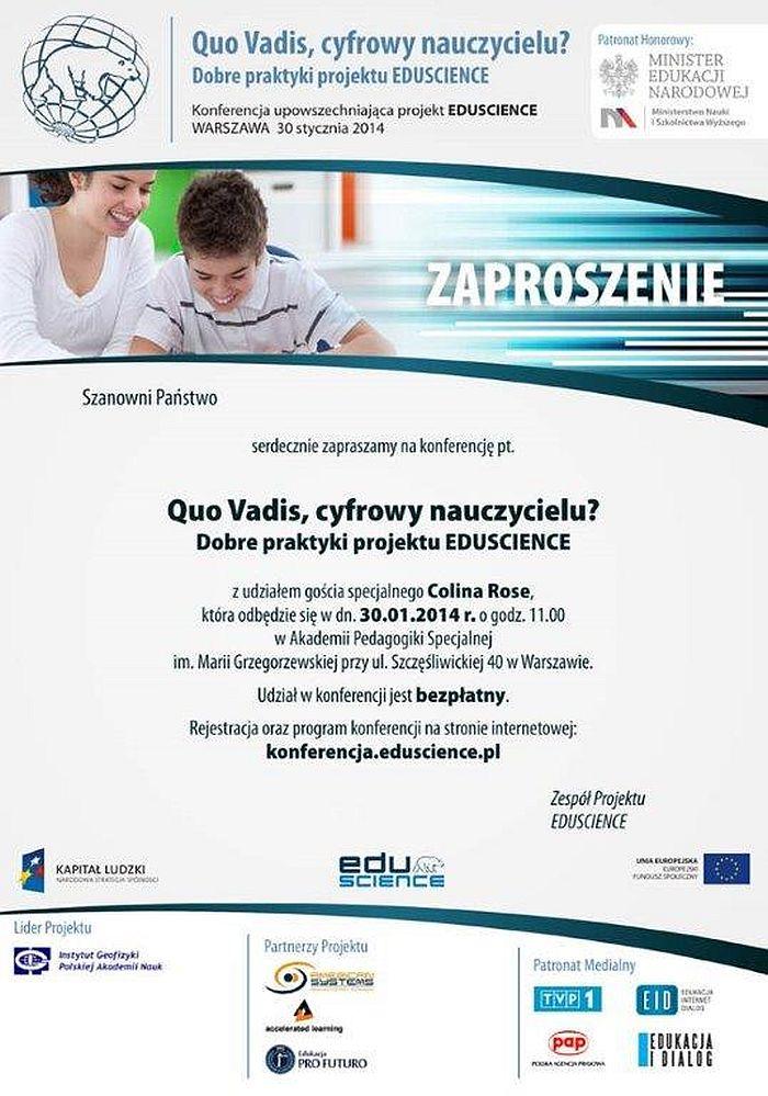Zaproszenie na konferencję Eduscience